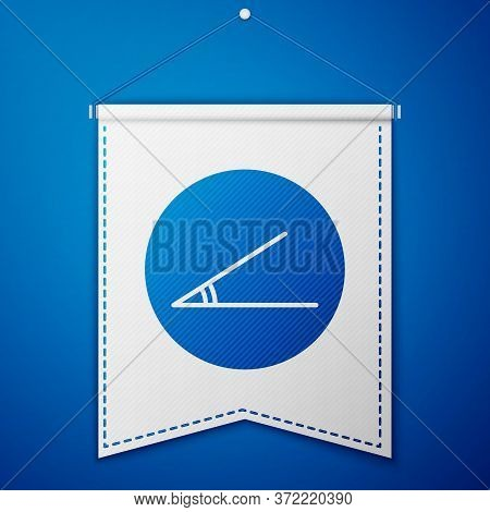 Blue Acute Angle Of 45 Degrees Icon Isolated On Blue Background. White Pennant Template. Vector Illu