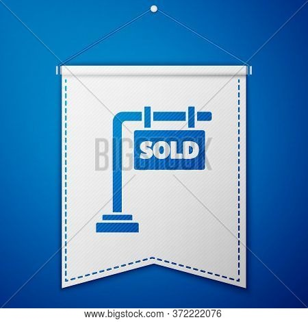 Blue Hanging Sign With Text Sold Icon Isolated On Blue Background. Sold Sticker. Sold Signboard. Whi