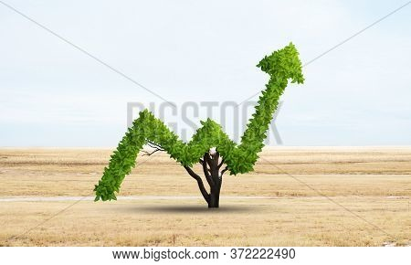 Green Plant In Shape Of Of Grow Up Trend At Dry Field. Business Analytics And Statistics. Friendly E