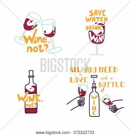 Cute Hand Drawn Trendy Vector Illustrations. Set Of Wine Illustrations With Wine Bottles And Glasses