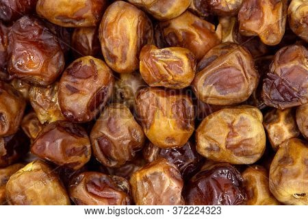 Dried Dates Background, Sort Soft Sukkary Or Sukari, Vegan Sweet Superfood, Topview