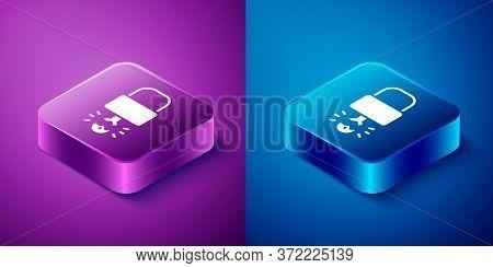 Isometric Key Broke Inside Of Padlock Icon Isolated On Blue And Purple Background. Padlock Sign. Sec
