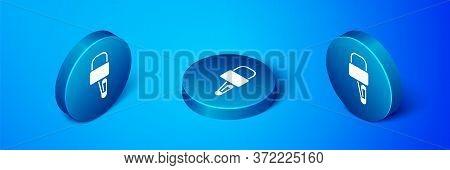Isometric Lockpicks Or Lock Picks For Lock Picking Icon Isolated On Blue Background. Blue Circle But