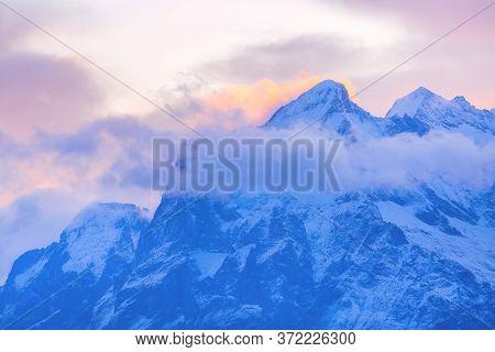 Panoramic View Of Swiss Alps Mountain Peaks, Jungfraujoch, Sunrise, Bernese Oberland, Switzerland