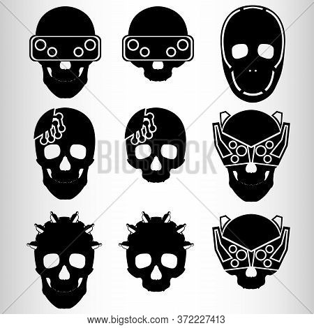 A Set Of Nine Skulls In The Style Of Cyberpunk. Set For Emblems Or Tattoos, Cyborg Skull. Nine Emble