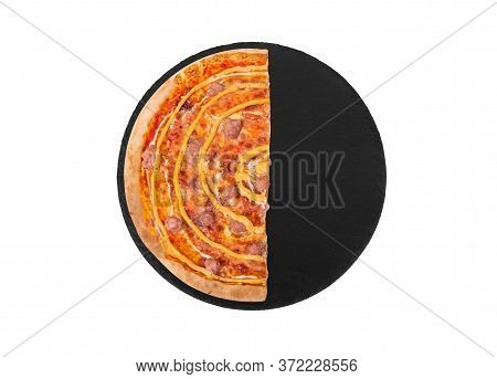Half Of Salsiccia Pizza With Beef Sausages, Mozzarella, Various Sauces And Marinated Red Onions On B