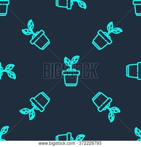 Green Line Plant In Pot Icon Isolated Seamless Pattern On Blue Background. Plant Growing In A Pot. P
