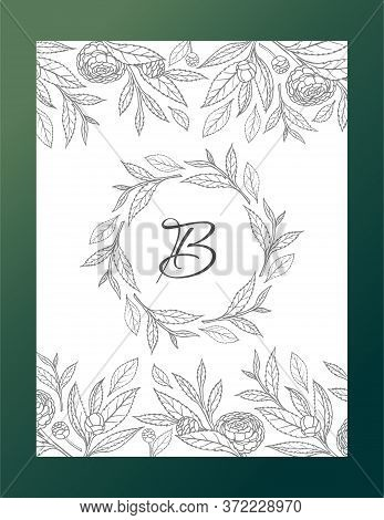 Postcard With Delicate Camellias On A White Background In Vector