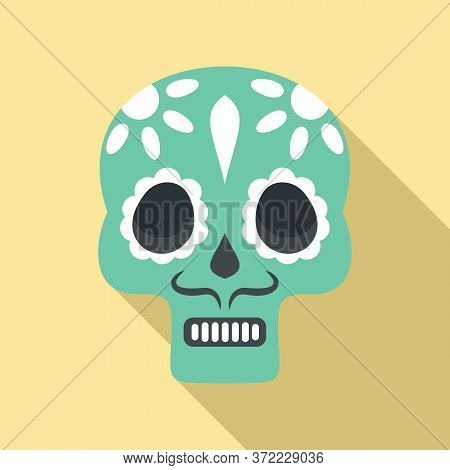 Mexican Skull Icon. Flat Illustration Of Mexican Skull Vector Icon For Web Design