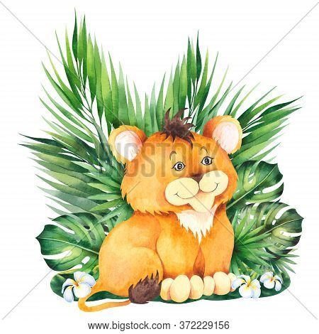 Little Lion Cub. Cute Children Cartoon Illustration. Watercolor Isolated On White Background.