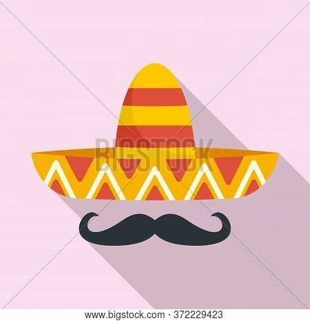 Mexican Sombrero Mustache Icon. Flat Illustration Of Mexican Sombrero Mustache Vector Icon For Web D