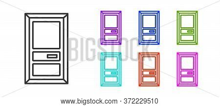 Black Line Closed Door Icon Isolated On White Background. Set Icons Colorful. Vector Illustration