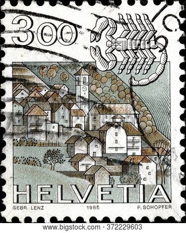 02 11 2020 Divnoe Stavropol Territory Russia The Postage Stamp Switzerland 1985 Zodiac Signs And Lan