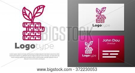 Logotype Line Dollar Plant Icon Isolated On White Background. Business Investment Growth Concept. Mo