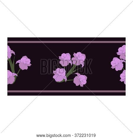 Seamless Border, An Ornament With Flowers, Buds Of Tender Lilac Color In Bouquets Of Iris Flowers On