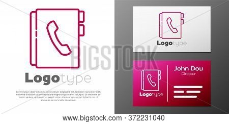 Logotype Line Address Book Icon Isolated On White Background. Notebook, Address, Contact, Directory,