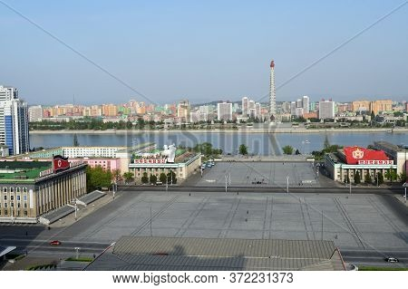 Pyongyang, North Korea - April 29, 2019: View On The City, Monument To The Juche Idea - Juche Tower,