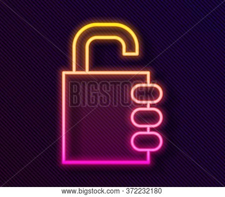 Glowing Neon Line Safe Combination Lock Icon Isolated On Black Background. Combination Padlock. Secu