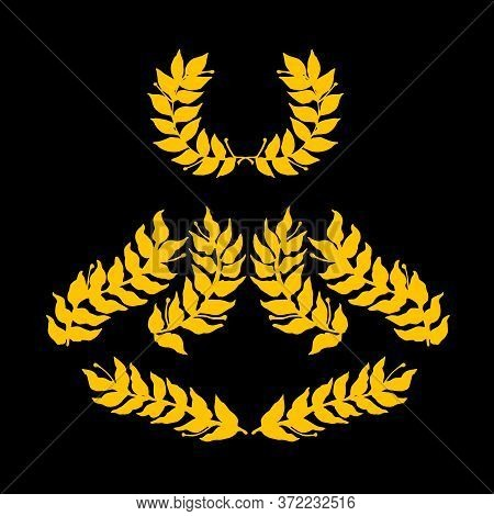 Set Of Laurel Branches & Wreath A Symbol Of Glory, Victory, For Pattern Or Ornament, Gold Silhouette