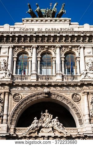 Monumental Facade Of The Court Of Cassation In Rome, Italy