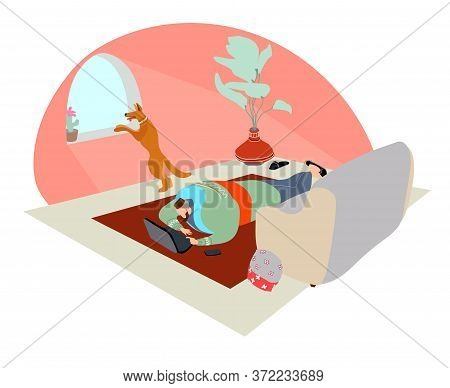 Stay At Home Concept, A Muslim Man Working Remotely On A Laptop In A Room With A Sheepdog, Self Isol