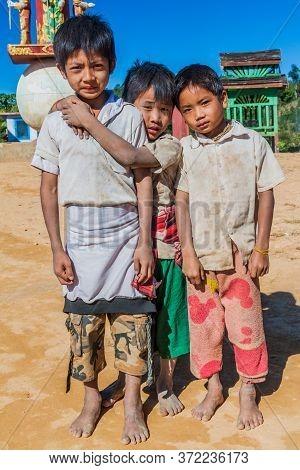 Kalaw, Myanmar - November 24, 2016: Village Children Near Kalaw Town, Myanmar