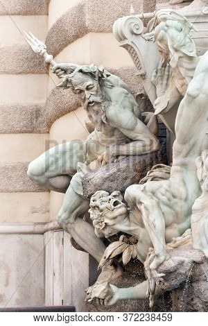 Exquisite Detail Of Power At Sea Fountain On Michaelerplatz By The Hofburg Palace In Inner City, Vie