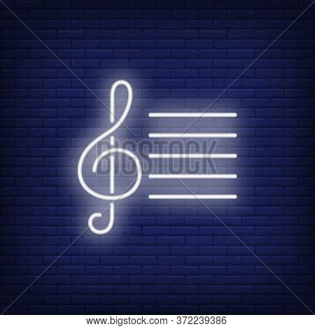 Musical Notation With Treble Clef Neon Sign. Classical Music, Concert Or Advertisement Design. Night