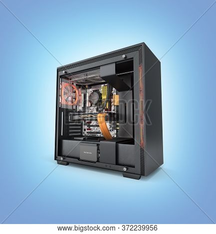 Open Computer With Red Lighting Effects And Water Cooled Cooling System On Blue Gradient Background