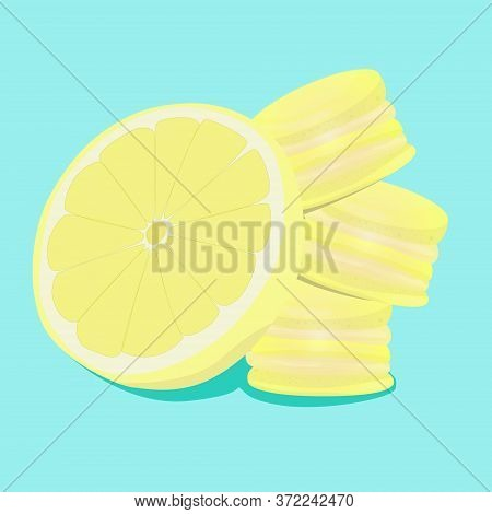 Lemon Macaroons. Vector Traditional French Cookies In Cartoon Style. Composition Of Lemon And Macaro