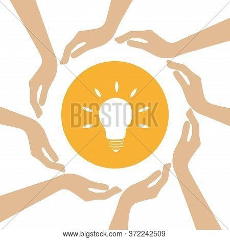 Bulb Idea Symbol In The Middle Of Human Hands Vector Illustration Eps10
