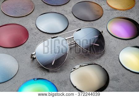 Closeup Of Assortment Of Different Colored Optical Corrective Lenses For Eyewear, Fashion Trendy Sun