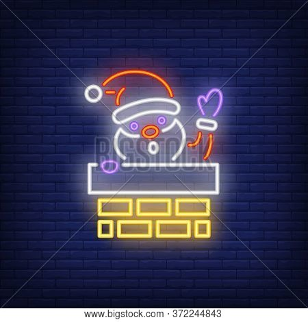 Santa Claus In Chimney Stalk Neon Sign. Glowing Santa In Chimney Stalk On Dark Blue Brick Background