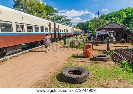 Gokteik, Myanmar - November 30, 2016: Train At A Local Station Near Gokteik Gok Teik Viaduct, Myanma