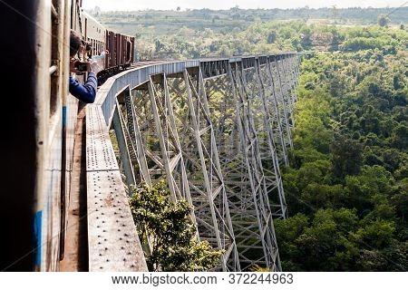 Gokteik, Myanmar - November 30, 2016: Train Crossing Gokteik Goteik Or Gok Teik Viaduct, Myanmar