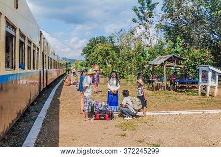 Naung Peng, Myanmar - November 30, 2016: People On The Train Station In Naung Peng Near Gokteik Viad