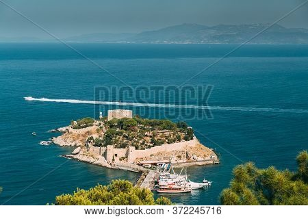 Kusadasi, Aydin Province, Turkey. Top View Of The Pigeon Island. Old 14th-15th Century Fortress On G