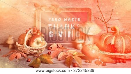 Autumn Traditional Decorations, Toned Panoramic Image. Text Zero Waste Thanksgiving On Blackboard. N
