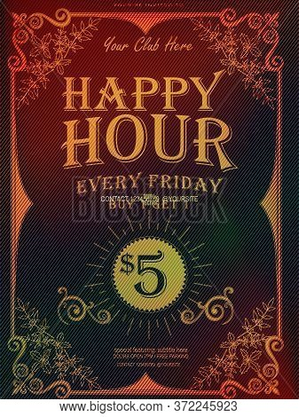 Happy Hour Great Gatsby Deco Style Vector, Golden Flowers, Art Deco Floral Vintage Frame Design, Bir
