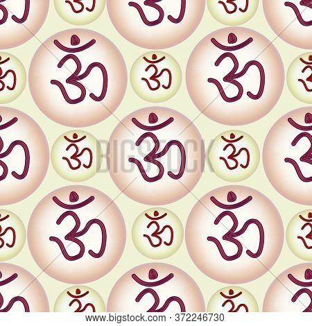 Aura Background And Om In A Circle Seamless Pattern