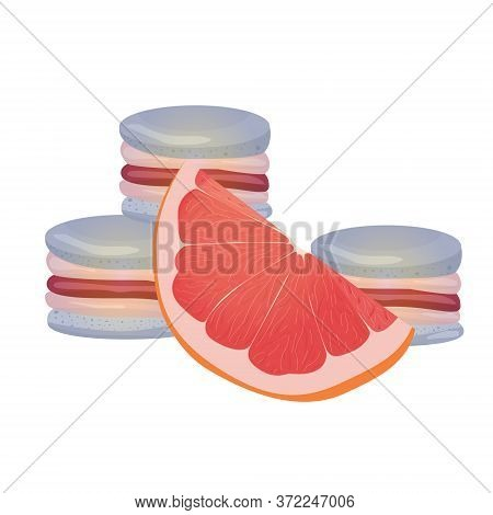 Grapefruit Macaroons. Vector Traditional French Cookies In Cartoon Style. Composition Of Grapefruit