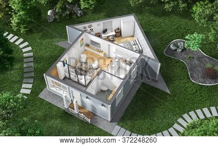 Sliced House With Interior In Form Of House Among A Garden With Many Trees And Internal Content . 3d