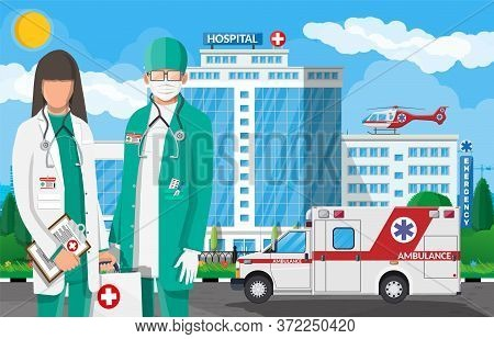 Ambulance Staff Concept. Hospital Building, Medical Icon. Healthcare, Hospital And Medical Diagnosti