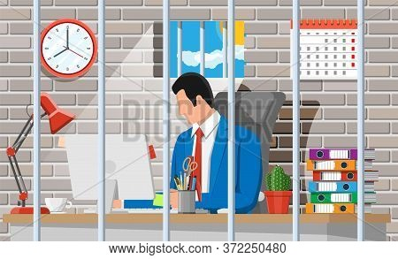 Businessman Working On Computer In The Prison Cell. Overworked Business Man In Jail. Stress At Work.