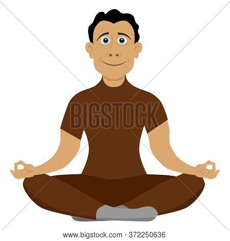 Human Meditation. A Cheerful Guy Is Engaged In Meditation And Yoga, A Healthy Lifestyle, Relaxation.