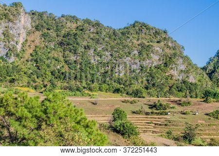 Hills In The Area Between Kalaw And Inle, Myanmar