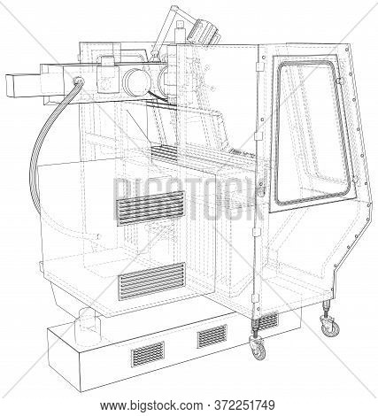 Cnc Lathe Machine Illustration Vector. Wire-frame Line Isolated. Vector Rendering Of 3d