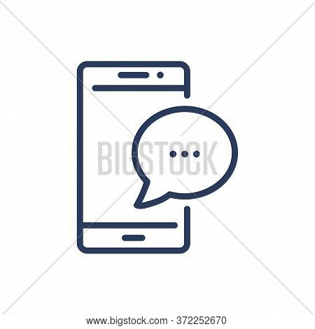Messenger Thin Line Icon. Mobile Phone, Cell, Chat, Speech Bubbles Isolated Outline Sign. Communicat