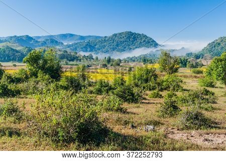Rural Landscape In The Area Between Kalaw And Inle, Myanmar