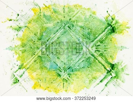 Minimalist Art - Abstract Symmetric Monotyping Painting Handcrafted With Green And Yellow Watercolor